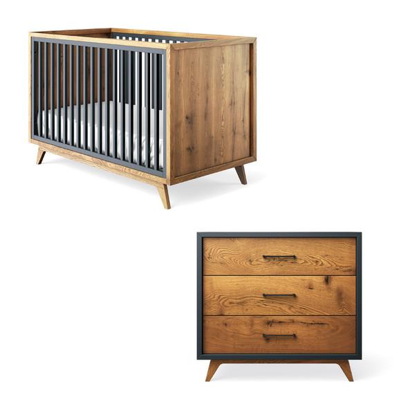 Romina Uptown 2 Piece Nursery Set - 3 drawer and Crib in Navy
