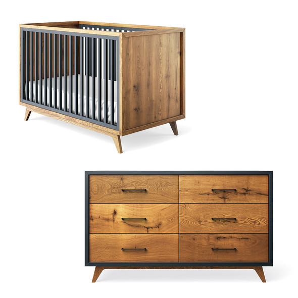 Romina Uptown 2 Piece Nursery Set - Double Dresser and Crib in Navy