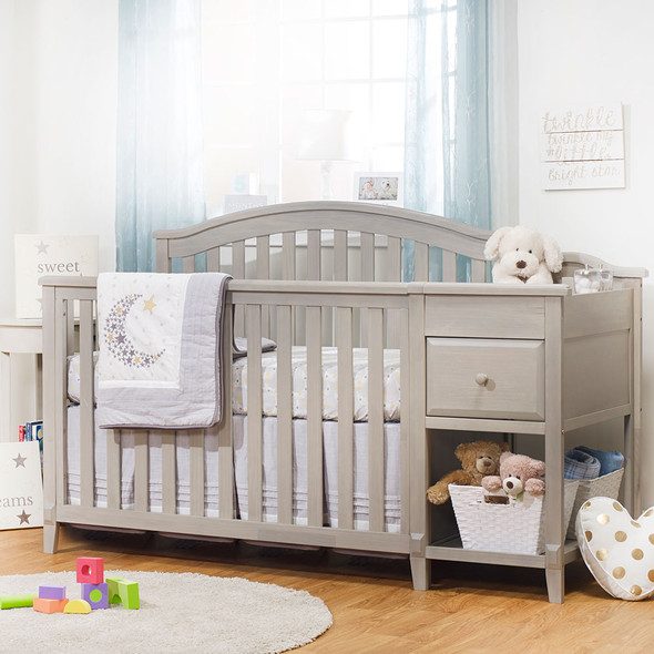 Sorelle Brittany Crib and Changer in Heritage Fog