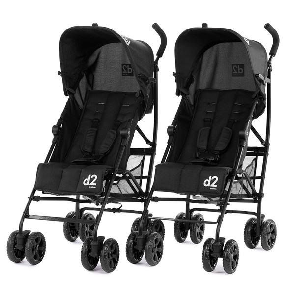 Diono Pack of Two Light Weight Stroller Two2Go Stroller in Black/Black