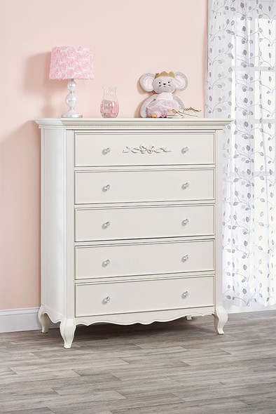 Oxford Baby Bella 5 Drawer Chest in Pearl White
