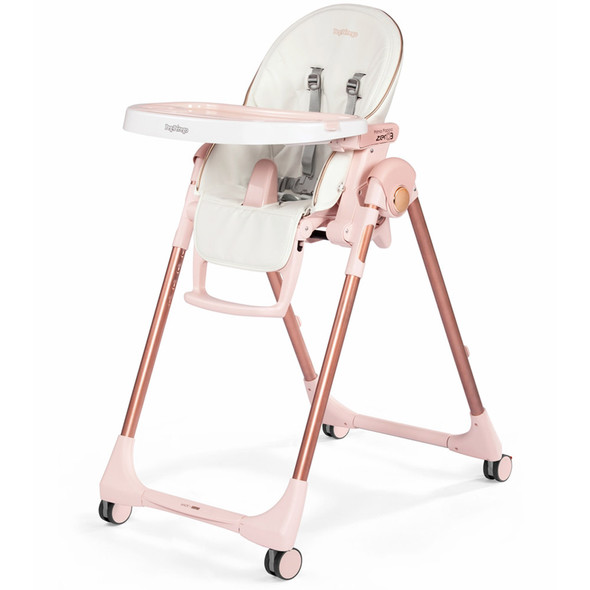 Peg Perego Prima Pappa Zero 3 in Mon Amour- White eco leather with Pink & Rose Gold accents