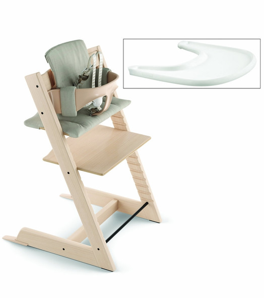 Stokke Tripp Trapp Complete High Chair in Natural with Timeless Grey Cushion