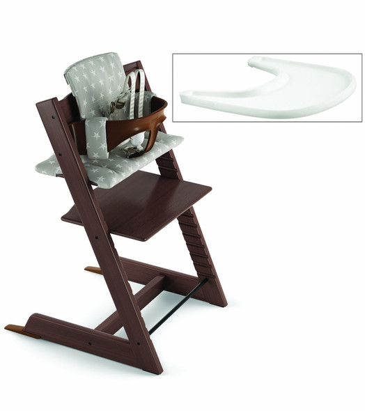 Stokke Tripp Trapp Complete High Chair in Walnut with Grey Star Cushion