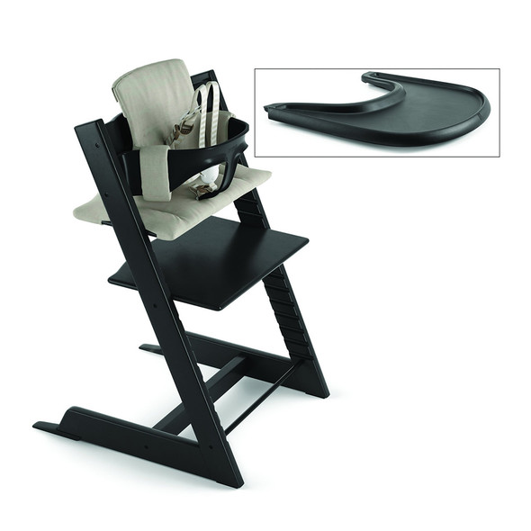 Stokke Tripp Trapp Complete High Chair in Black With Timeless Grey Cushion