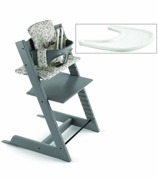 Stokke Tripp Trapp Complete High Chair in Storm Grey with Garden Bunny Cushion