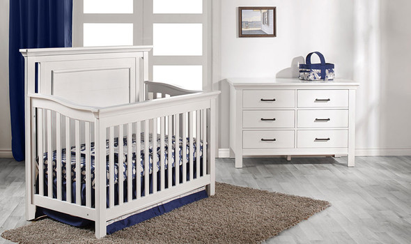 Pali Como 2 Piece Nursery Set - Flat Top Crib and Double Dresser in Vintage White