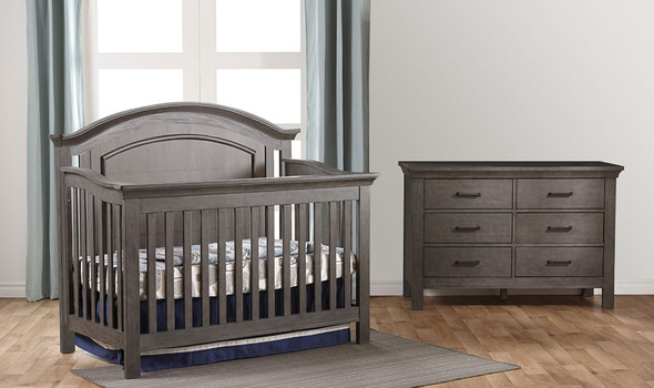 Pali Como 2 Piece Nursery Set - Crib and Double Dresser in Distressed Granite