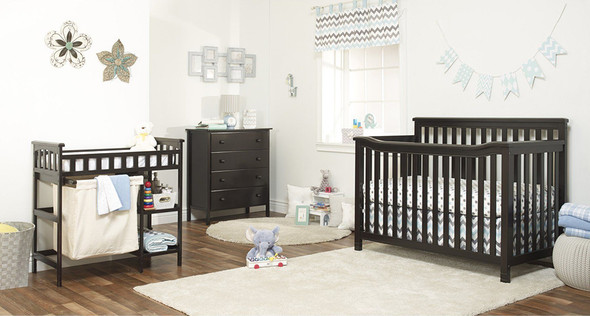 Sorelle Palisades Room (4 In 1 Crib, 4 Dr Dresser, And Dressing Table W/ Hamper) in Espresso