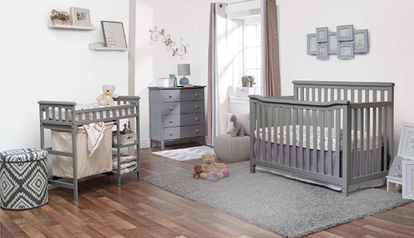 Sorelle Palisades Room (4 In 1 Crib, 4 Dr Dresser, And Dressing Table W/ Hamper) in Grey