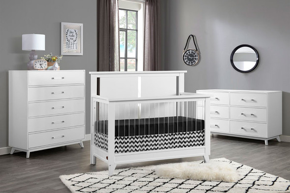 Oxford Baby Holland 3 Piece Nursery Set- Convertible Crib, 6 Drawer Dresser and 5 Drawer Chest in White