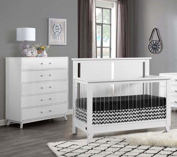 Oxford Baby Holland 2 Piece Nursery Set - Convertible Crib and 5 drawer Chest in White