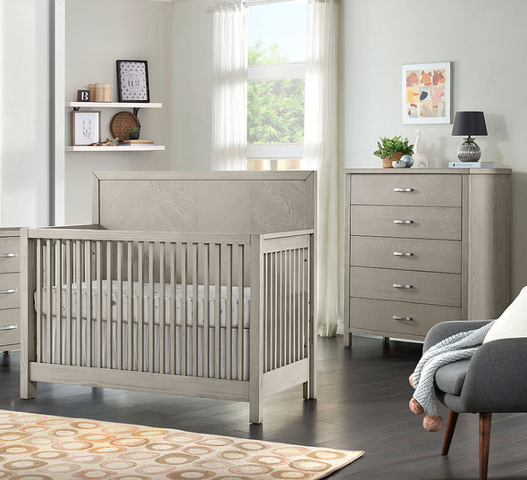 Oxford Baby Phoenix 2 Piece Nursery Set - Convertible Crib and 5 Drawer Chest in Weathered Oak