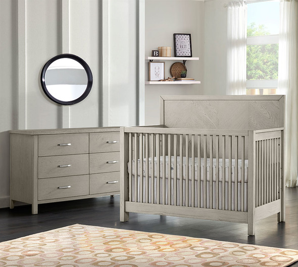 Oxford Baby Phoenix 2 Piece Nursery Set - Convertible Crib and 6 Drawer Dresser in Weathered Oak
