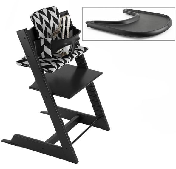Stokke Tripp Trapp Complete High Chair - Black Tripp Trapp with Black Baby Set, Black Tray and Black Chevron Cushion