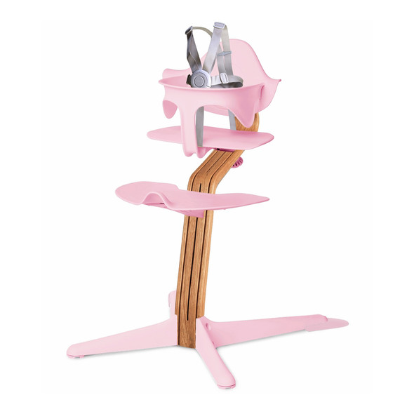 Nomi Highchair Pink in Natural Oak