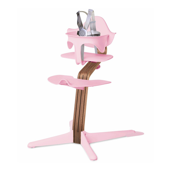 Nomi Highchair Pink in Walnut