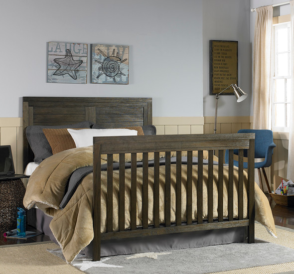 Ti Amo Castello Full Bed w/bed rails in Weathered Brown