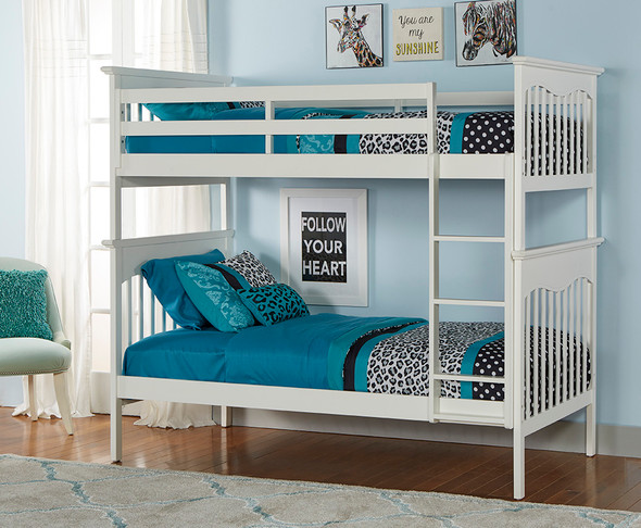 Ti Amo Lena Teen Bunk Bed w Rails, GR & Ladder in Snow White