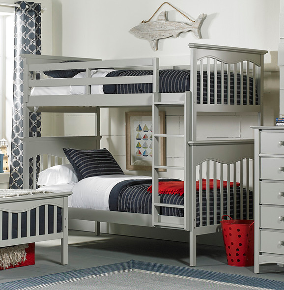 Ti Amo Lena Teen Bunk Bed w Rails, GR & Ladder in Misty Grey