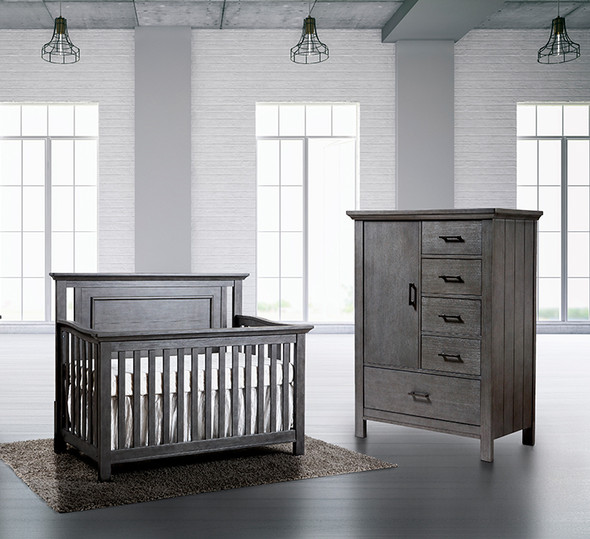 Pali Como 2 Piece Nursery Set - Flat Top Crib and Chifferobe in Distressed Granite