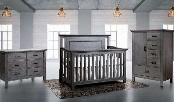Pali Como 3 Piece Nursery Set - Flat Top Crib in Distressed Granite