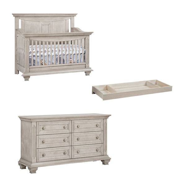 Oxford Baby Lakeville 3 Piece Nursery Set with Crib, Double Dresser & Changer in Stone Wash