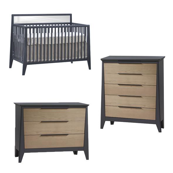 Natart Flexx 3 Piece Nursery Set - Convertible Crib in Graphite, 3 Drawer Dresser and 5 Drawer Dresser in Graphite/Natural