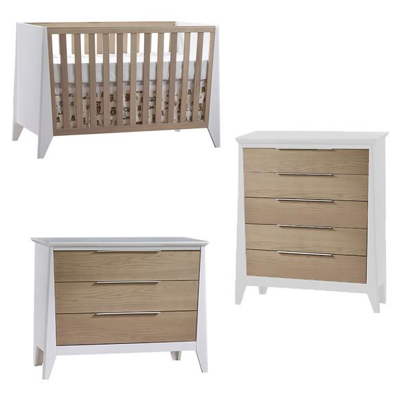 Natart Flexx 3 Piece Nursery Set - Classic Crib, 3 Drawer Dresser and 5 Drawer Dresser in White/Natural