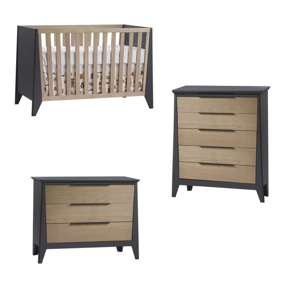 Natart Flexx 3 Piece Nursery Set - Classic Crib, 3 Drawer Dresser and 5 Drawer Dresser in Graphite/Natural