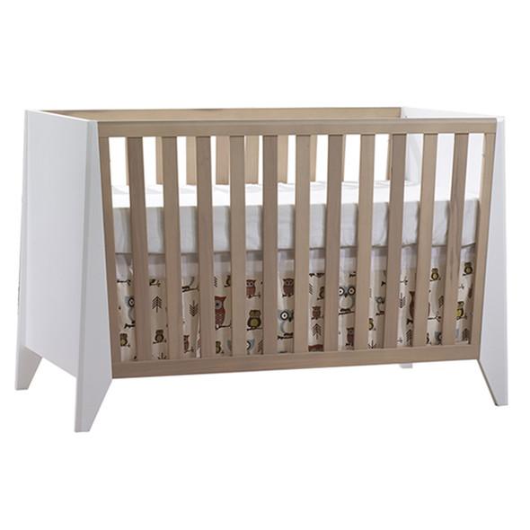 Natart Flexx 2 Piece Nursery Set - Classic Crib and 5 Drawer Dresser in White/ Natural