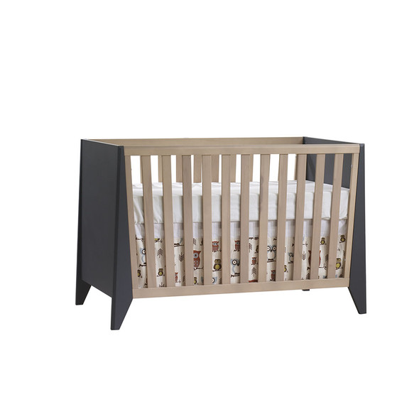 Natart Flexx 2 Piece Nursery Set - Classic Crib and 5 Drawer Dresser in Graphite/Natural