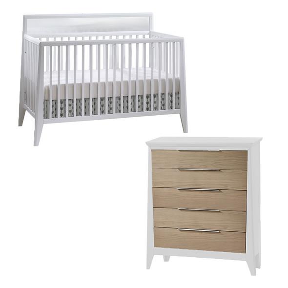 Natart Flexx 2 Piece Nursery Set - Convertible Crib in White and 5 Drawer Dresser in White/ Natural