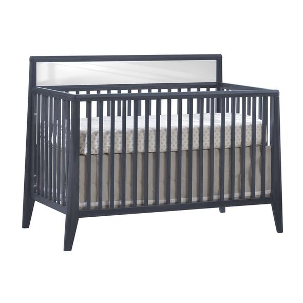 Natart Flexx 2 Piece Nursery Set - Convertible Crib in Graphite and 5 Drawer Dresser in Graphite/Natural