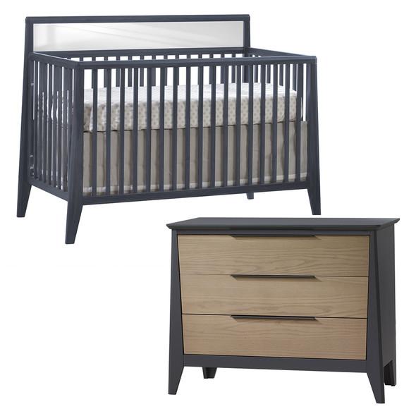 Natart Flexx 2 Piece Nursery Set - Convertible Crib in Graphite and 3 Drawer Dresser in Graphite/Natural