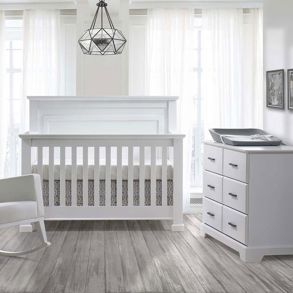 Natart Taylor 2 Piece Nursery Set - Crib and Double Dresser in White