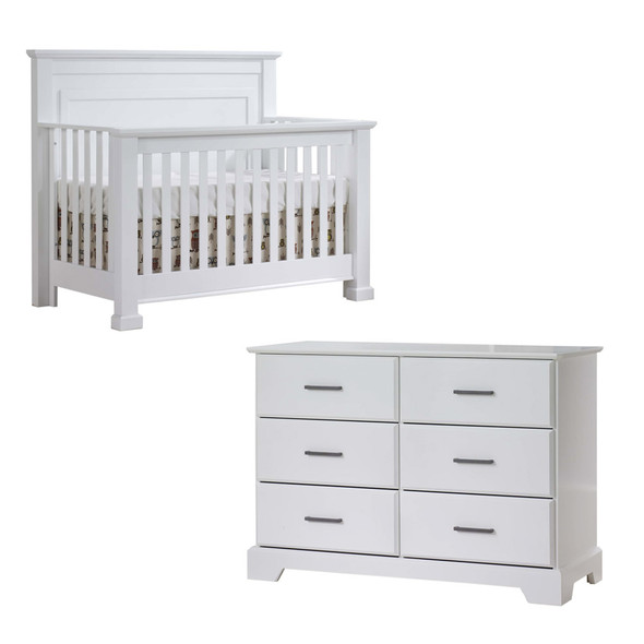 Natart Taylor 2 Piece Nursery Set - Crib and Double Dresser in White