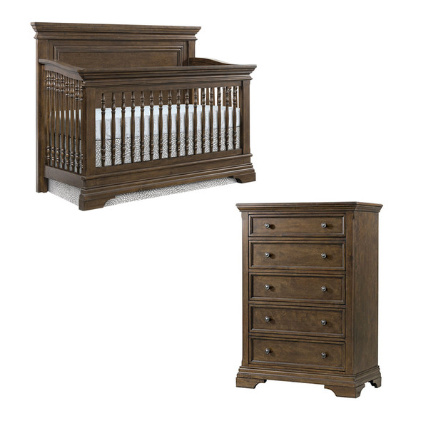 Westwood Olivia 2 Piece Nursery Set - Crib and 5 Drawer Chest in Rosewood