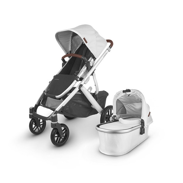 Uppa Baby Vista V2 Stroller - in Bryce (white marl/silver frame/chestnut leather)