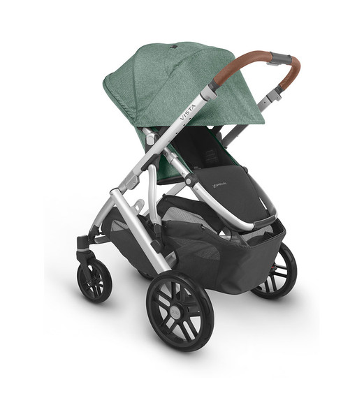 Uppa Baby Vista V2 Stroller - in Emmett (green melange/silver frame/saddle leather)