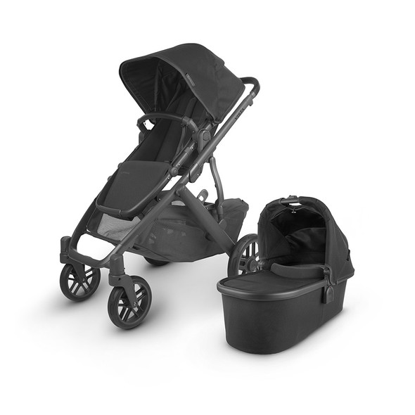 Uppa Baby Vista V2 Stroller - in Jake (charcoal/carbon frame/black leather)