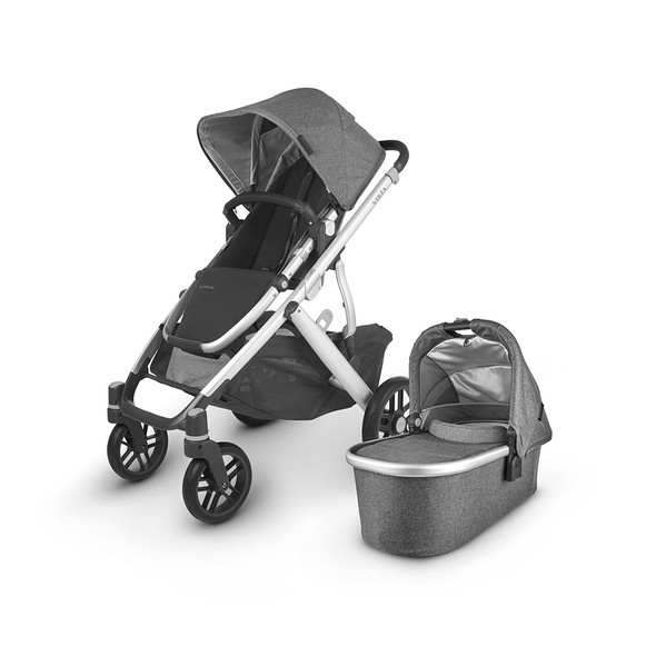 Uppa Baby Vista V2 Stroller - in Jordan (charcoal mélange/silver frame/black leather)