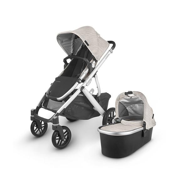 Uppa Baby Vista V2 Stroller - in Sierra (dune knit/silver frame/black leather)