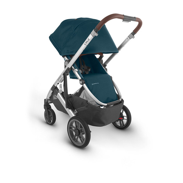 Uppa Baby Cruz V2 Stroller - in Finn (deep sea/silver frame/chestnut leather)