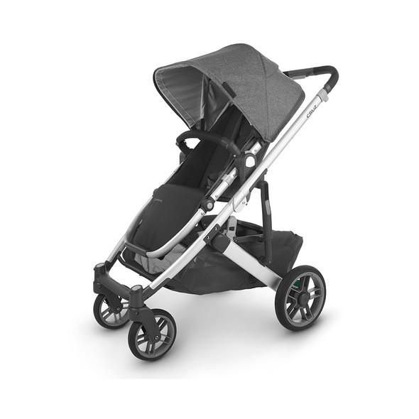 Uppa Baby Cruz V2 Stroller - in Jordan (charcoal mélange/silver frame/black leather)