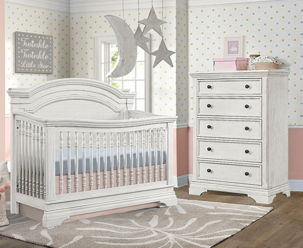 Westwood Olivia 2 Piece Nursery Set - Arched Crib and 5 Drawer Chest in Brushed White