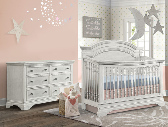 Westwood Olivia 2 Piece Nursery Set - Arched Crib and 6 Drawer Dresser in Brushed White