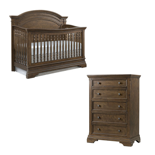 Westwood Olivia 2 Piece Nursery Set - Arched Crib and 5 Drawer Chest in Rosewood