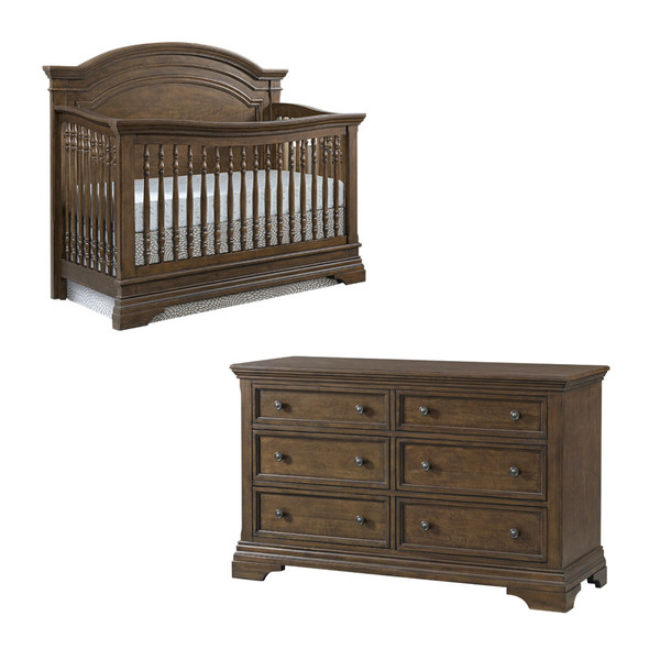 Westwood Olivia 2 Piece Nursery Set - Arched Crib and 6 Drawer Dresser in Rosewood