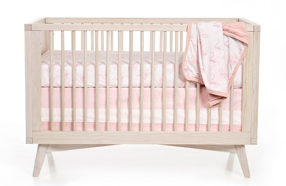 Oilo Blush Woven Cotton Band Crib Skirt